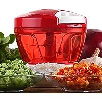 VLUNT Cortador de Verduras, Picadora de Verduras Manual, 5 Cuchillas de Acero Inoxidable Picadora de Alimentos para Picar Frutas,Verduras,Cebolla para la Salsa, Ensalada Cortador de verduras (Rojo)