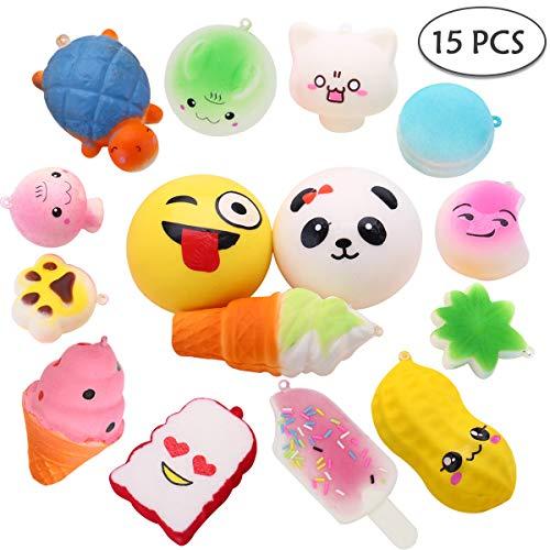 COSYLIFE Squishy Spielzeug Set , 15 Stück langsam Steigende Squishies Toys Squeeze Stress Relief Squishys mit Schlüsseranhänger Medium Mini Kawaii Spielzeug für Jungen / Mädchen Kinder