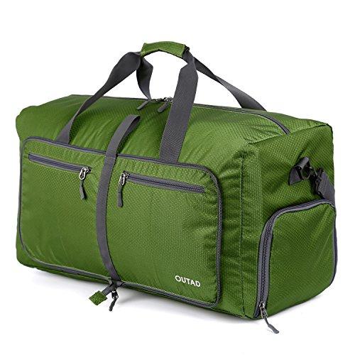 OUTAD Reisetasche - faltbare, 50l große Reisetasche ist beständig, packbar, SUPERLEICHTE 410g - lässt sich in sich falten - am besten als Gepäck oder Sporttasche (Blau) Dunkelgrün