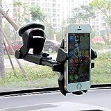 Alierkin Soportes para Coches Soporte Universal de Telefono Movil con Ventosa Pegada en Parabrisas o Salpicadero Soporte Coche 360 Grados de Rotación para iPhone 6s / 6 Plus, Samsung Galaxy S6 / Note 4 / LG G3 y Dispositivo GPS