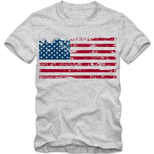 USA Flagge T-Shirt US Flag Shirt United States of America Tee, Farbe:Graumeliert (Grey Melange);Größe:XXL