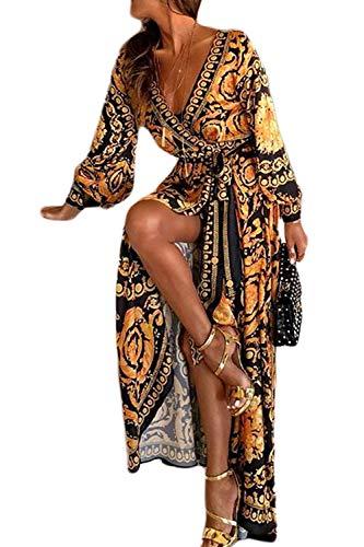 Sevozimda Femmes Cocktail Robes Bohème À Manches Longues Floral Automne Parti Maxi Robe Jaune M