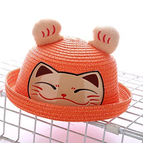 Kind Katze Orange Kostüm - mlpnko Strohhutkarikatur-Tierhutbabymänner der neuen Kinder und glückliche Katze der Frauentopfkappe orange M