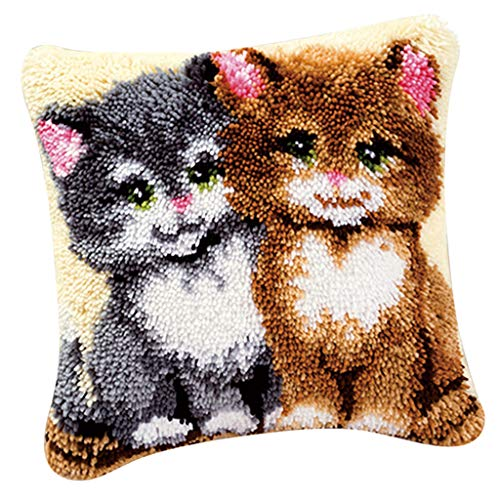 perfk DIY Knüpfkissen Sofakissenbezug Deko-Kissen zum selber knüpfen, Knüpfpackung Kunsthandwerk Latch Hook Kit - Zwei Katzen