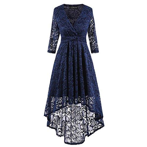 autumn Advanced elegant Vintage floral irregular Lace Swing bridesmaid cocktail Party Tuxedo Dress (Tuxedo Dress Womens)
