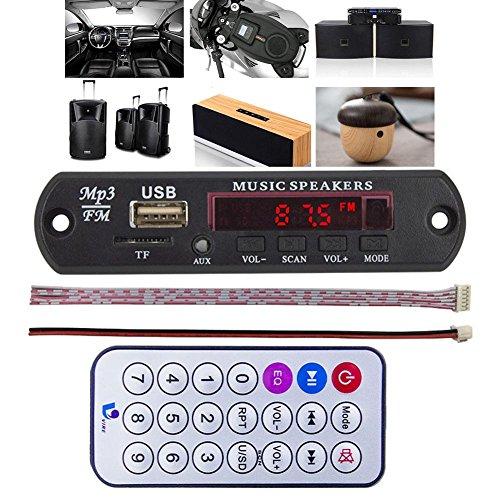 ZHUOTOP Radio- / MP3- /Decoderplatine, 5-V-Audio-Modul für das Auto mit Micro-USB, TF, 5-V-Gleichstrom-Netzteil, Fernbedienung, Musik, Lautsprecher
