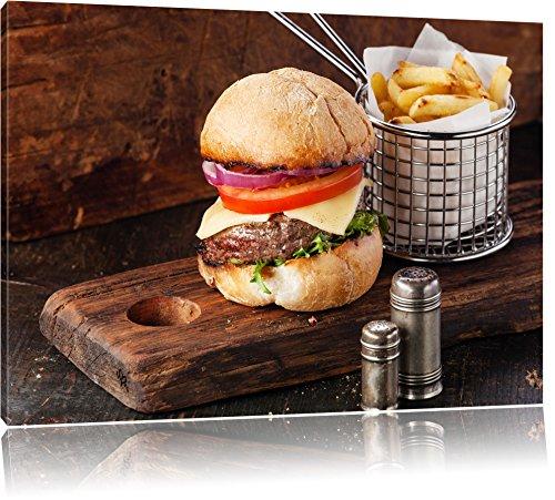 Cheeseburger con patatine fritte, formato: 120x80 su tela, XXL enormi immagini completamente Pagina con la barella, stampa d'arte sul murale con telaio, più economico di pittura o un dipinto a olio, non un manifesto o un banner,