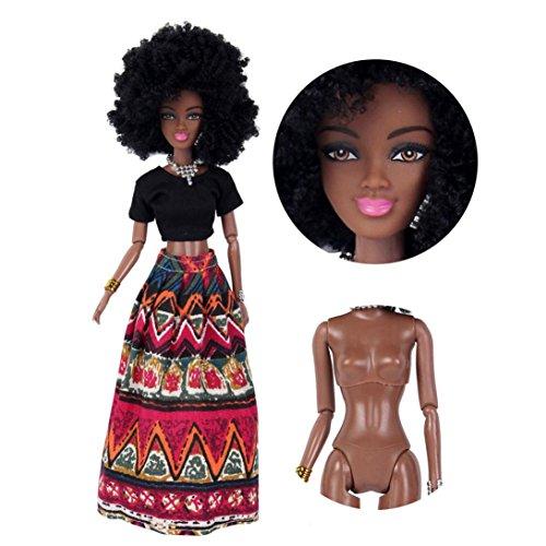 int afrikanische Puppe Spielzeug schwarz Puppe beste Geschenk Spielzeug Afrikanische Puppenspielzeuge Baby Movable Joint African Doll Toy Black Doll Toy (Rot) (Baby Doll Kostüme Für Halloween)