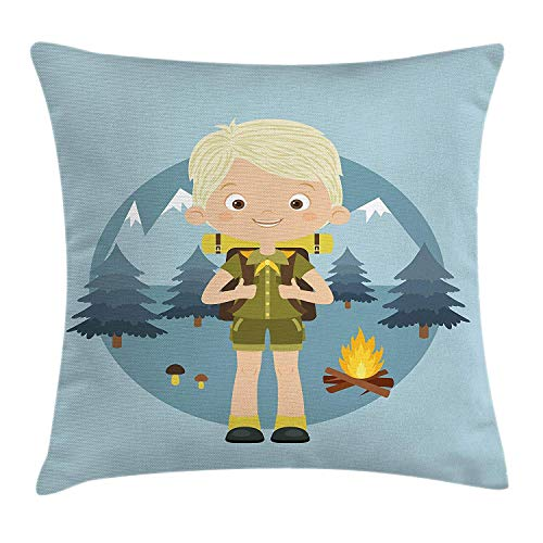 Explore Throw Pillow Cushion Cover, Cartoon Boy Scout in The Forest with Mountains Trees Mushroom and Campfire Design, Decorative Square Accent Pillow Case, 18 X 18 inches, Multicolor