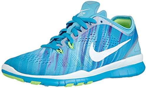 Nike Free Trainer 5 Print, Chaussures de Fitness Femme Bleu (clearwater/white-blue Lagoon-flash Lime 400)
