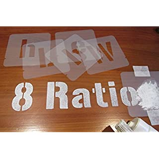 Set of letters and numbers stencils, different sizes (75 mm)