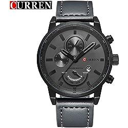 CURREN Quartz Analog Men's Watch with Grey Leather Strap Calendar Wrist Watch 8217G