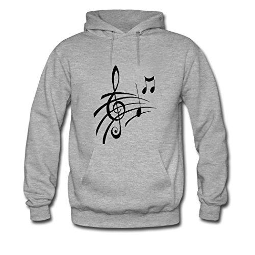 HGLee Printed DIY Custom Music Note Women's Hoodie Hooded Sweatshirt Gray--2