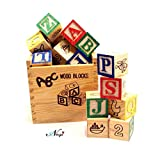 #10: Negi ABC 123 Wooden Blocks Letters Numbers with Box Storage Case, Wooden (27 Pieces)