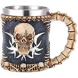 Taza con diseño de calavera 3D, diseño de calavera de resina, cristal de vino retro, copas de cóctel vintage whisky cerveza vino taza 140.00 * 110.00 * 85.00mm Skull