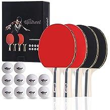 Upstreet - Juego de tenis de mesa con 4 palas y pelotas de tres estrellas,