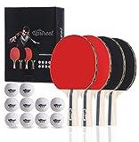 Upstreet - Ensemble de boîtes4 raquettes deping-pong avec des balles 3 étoiles...