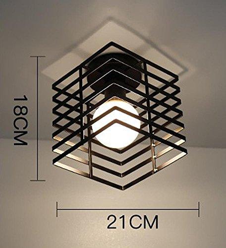 Industrie Vintage Deckenbeleuchtung Loft Retro Deckenleuchte Metall Eisen Käfig Gussrahmen Design Lampenschirme Deckenlampe Kreativ Edison Leuchte Rustikale Square Deckenleuchten E27 Max. 60W