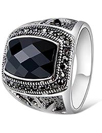 Yoursfs Indice Retro anelli di barretta per gli uomini o le donne, oro bianco 18ct modo placcato personalizzati Domineering Anelli Decorazione