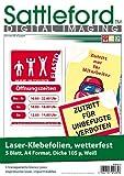Sattleford Bedruckbare Folie: 5 Klebefolien wetterfest A4 für Laserdrucker weiß (Klebefolie Zum Bedrucken)