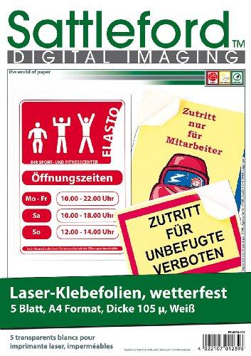 Sattleford Etiketten wasserfest: 5 Klebefolien wetterfest A4 für Laserdrucker weiß (Aufkleber drucken)