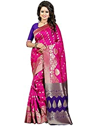 J B Fashion Women's Silk Pink-blue Saree With Blouse Piece