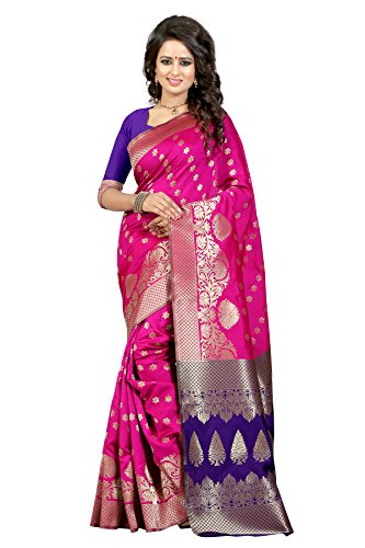 J B Fashion Women's Silk Pink-Blue Saree With Blouse Piece