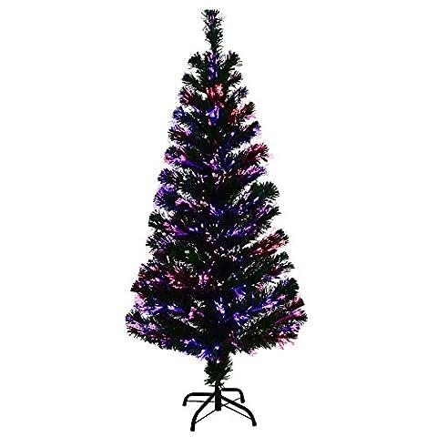 COSTWAY Weihnachtsbaum Künstlicher Tannenbaum Christbaum beleuchtet 90/120/150/180cm Grün mit Glasfaser-Farbwechsler (150cm)