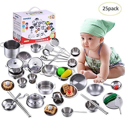 Jouet Simulation Ustensile Mini Cuisine en Acier Inoxydable Apprenant Papa Maman Cuisine - Jouet Kit Cuisine pour Enfant Fille avec Casseroles, Passoire,etc(18PCS/25PCS/32PCS/40PCS)