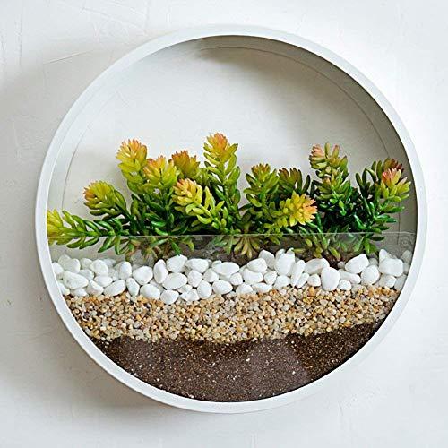 rrshun, fioriera da parete rotonda in vetro, vaso da parete per fiori in ferro da interno, contenitore verticale da appendere alla parete, infradito colorati estivi, con finte perline