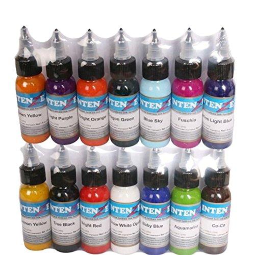 Providethebest 14 Basisfarben Tattoofarbe Set 30ml professionelles Tattoo Ink-Verfassungs-Pigment Kit