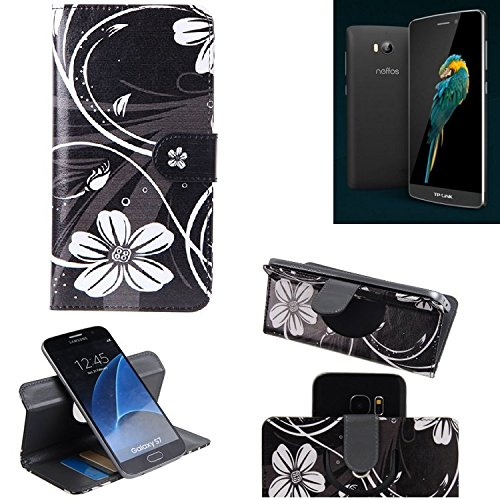 TP-LINK Neffos C5 Max 360° Wallet Case Schutz Hülle ''Flowers'' | Smartphone Flip cover Flipstyle Tasche Standfunktion innovativer Kameraschutz - K-S-Trade (TM)