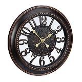 Relaxdays Horloge Murale rétro Design Vintage Ronde Cuisine Shabby Chic sans Bruit 56 cm de diamètre, Marron