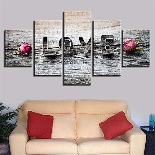 Malerei,Wulian HD Schlafzimmer Handwerk malerei Inkjet Liebe Blumen Rose Nacht gemälde Home Art malerei wandmalerei wandbilder 4 malerei Kern 0x40cmx2 30x60cmx2 30x80cmx1 ()