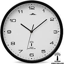 Orologio da parete nero/bianco al quarzo automatico Orologio da muro radiocontrollato Analogico - Ø 31cm