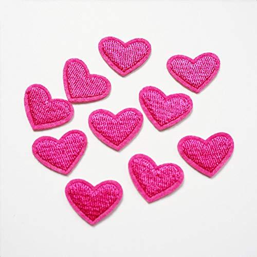 10x Stickerei Love Pink Herz Nähen Eisen auf Patch Badge Tasche hat Jeans-Applikation