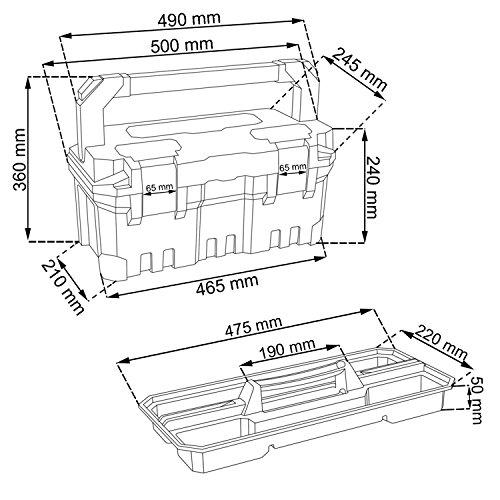 Großer Werkzeugkoffer Werkzeugträger TITAN Heimwerker 500 x 260 x 240 Alu Griff - 2