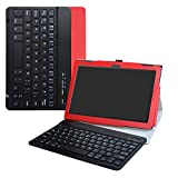 LiuShan Lenovo Tab4 10 Bluetooth Keyboard hülle, Abnehmbare Bluetooth Tastatur (QWERTY, englisches Layout) hülle mit Ständer für Lenovo Tab 4 10 2017 Android Tablet,Rot