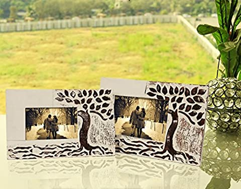 Shabby Chic Hand Carved Decorative Set of 2 Photo Frames