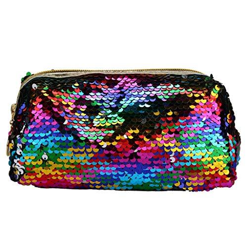 Kosmetik Aufbewahrungstasche,Rifuli® Pailletten Make-up Tasche Reversible Kosmetiktasche Mode Aufbewahrungstasche Handtasche Organizer Reisegepäck Reisetaschen Schlüsselkästen