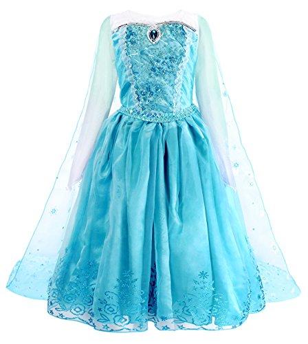 AmzBarley ELSA Kostüm Prinzessin Kleid Eiskönigin für Kinder Mädchen Kleider Halloween Cosplay Geburtstag Party Verrücktes Kleid Karneval Zeremonie Ankleiden, Blau 2, 11-12 (Elsa Kostüm Alter 11 12)