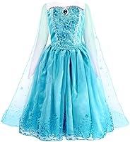AmzBarley Disfraz Niña Princesa Manga Larga, Vestido Niña Fiesta Boda Capa y 4pcs Accesorios Conjunto (Corona,