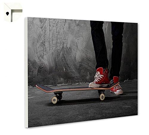 B-wie-Bilder.de Magnettafel Pinnwand mit Motiv Skateboard & Chucks Größe 60 x 40 cm