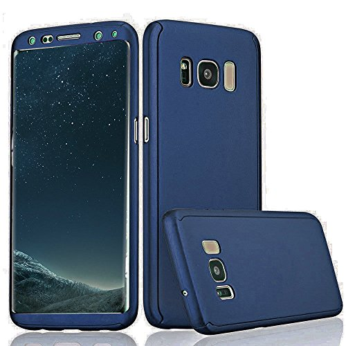 Xelcoy® 360 Degree Full Body Protection Front & Back Slim Hybrid Case Cover With Screen Protector for Samsung Galaxy S8 – Dark Blue