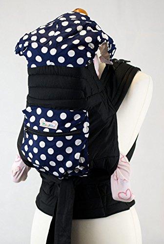 Palm and Pond Mei Tai fascia portabebè con cappuccio e tasca - Blu con pois bianchi