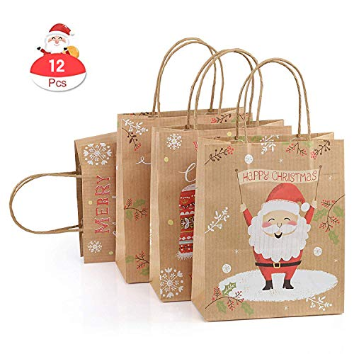 GWHOLE 12 Pezzi Natale Sacchetti di Carta Kraft Regalo Sacchetti di Natale con Maniglia per Regali Alimenti Dolci Caramella Matrimonio Battesimo