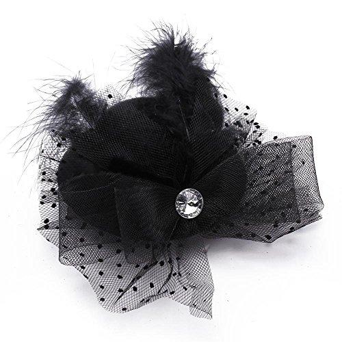 TOOGOO(R) Barrette Pince Epingle Mini Chapeau Plume Cheveux Coiffure Deco Femmes NOIR