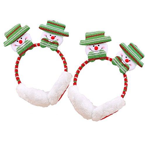 Plüsch Ohrschützer Ohrenklappen Xmas Partei Weihnachtsmann Elch Schneemann Muster Weihnachtsdekoration Geschenk Verkleiden Kostüme Schneemann (Plüsch Schneemann Kostüme)