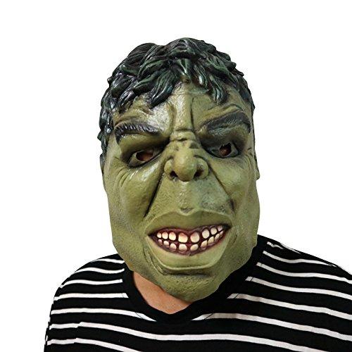 Zombie Maske mask Kopf aus sehr hochwertigen Latex Material mit Öffnungen an Augen Halloween Karneval Fasching Kostüm Verkleidung für Erwachsene Männer und Frauen Damen Herren gruselig Grusel Zombie Monster Dämon Horror Party Party (Hulk-kostüme Für Männer)