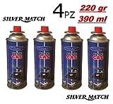 Cartuccia/Bombola/Bomboletta 4 pezzi gas Butano 220g - Silver Match Camping
